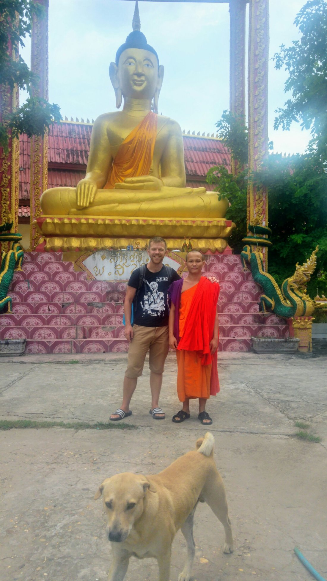 With a shy monk