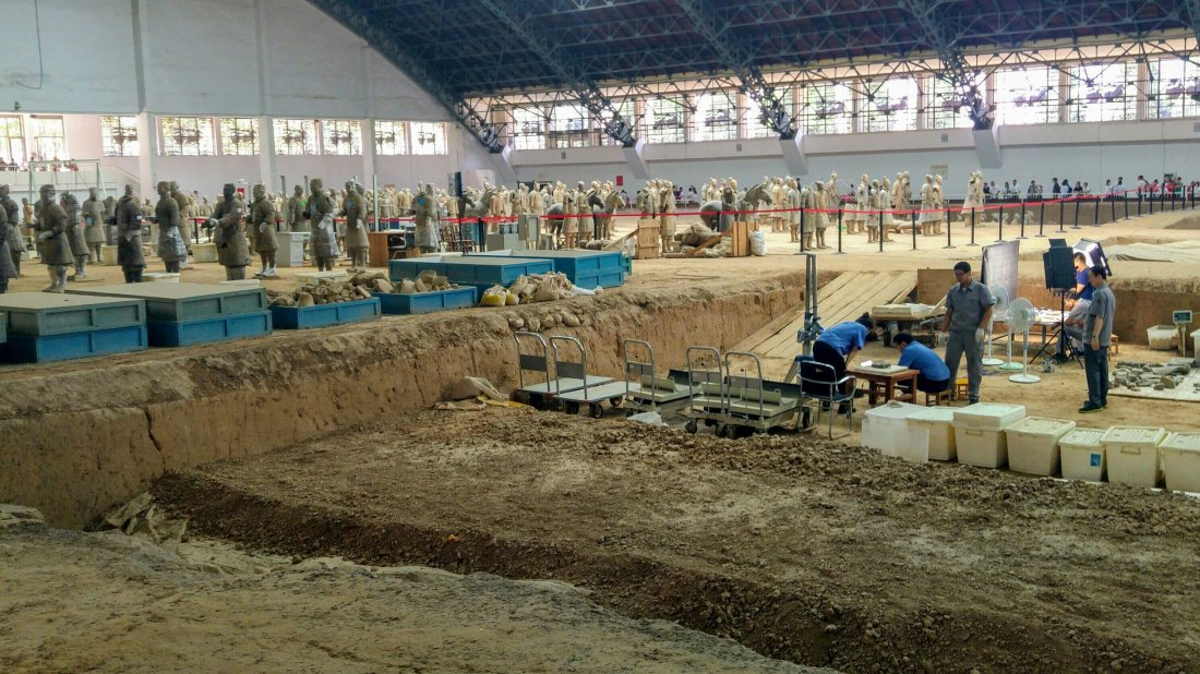 Ongoing excavation and repair of terracotta warriors
